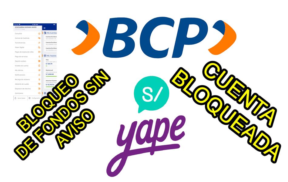 YAPE bloquea fondos de cuenta de ahorro BCP
